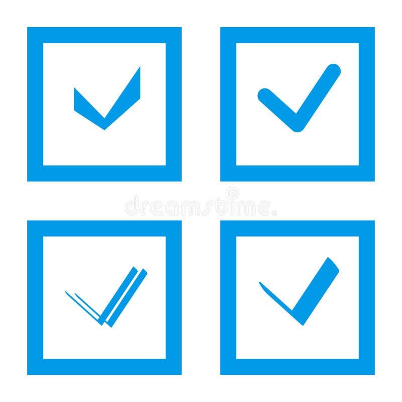 Satz des Auswahlkästchens Nehmen Sie, Checkbox oder Häkchen mit blauem Rahmenkasten an stock abbildung