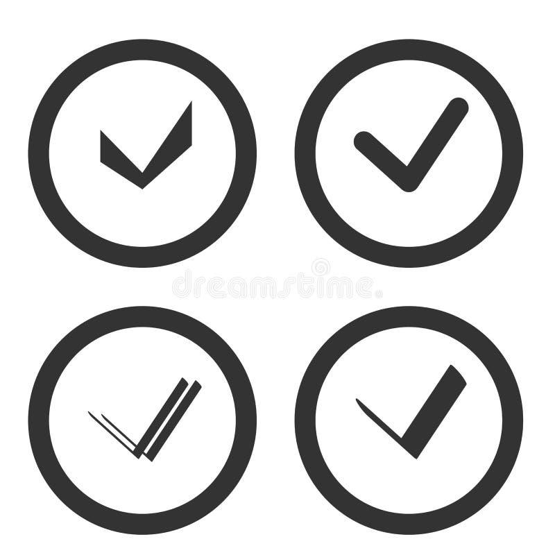 Satz des Auswahlkästchens Nehmen Sie an, Checkbox- oder Häkchenexklusivart lizenzfreie abbildung