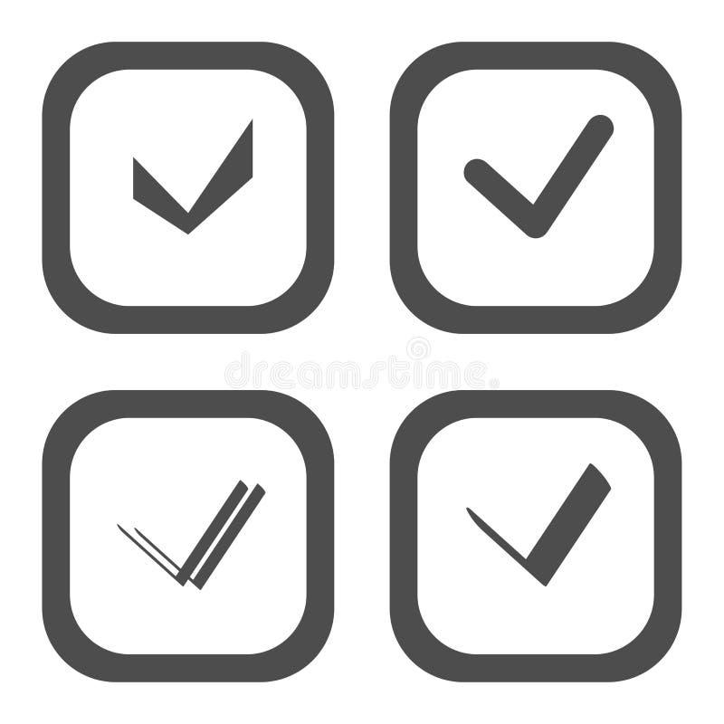 Satz des Auswahlkästchens Nehmen Sie, Checkbox- oder Häkchenschwarzes und wihte Art an vektor abbildung
