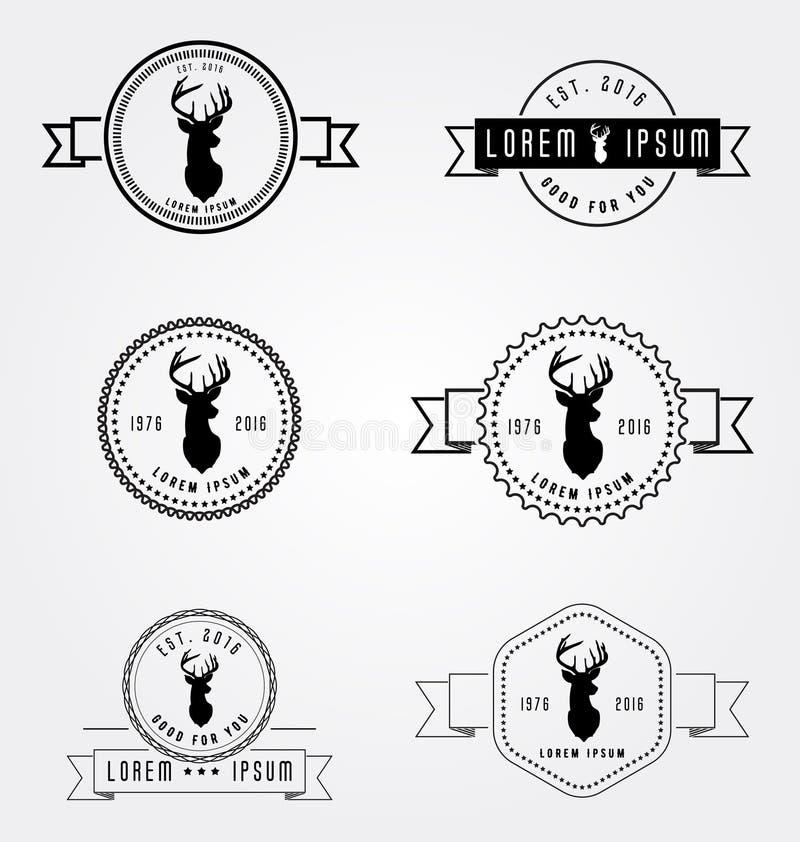 Satz des Ausweisaufkleberhippie-Logos Vektorillustrations-Rotwildkopf Weinlese-Emblemschablonen der Sammlung Retro- lizenzfreie stockfotografie