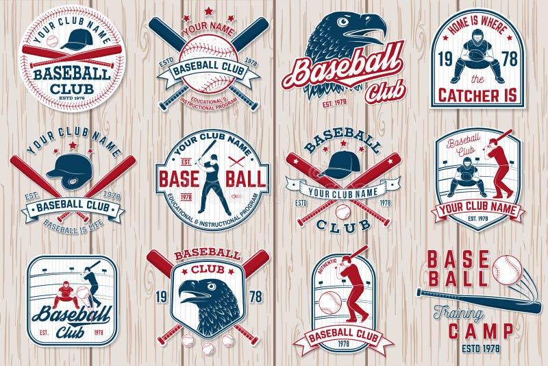 Satz des Baseball- oder Softballklubabzeichens Auch im corel abgehobenen Betrag Konzept für Hemd oder Logo, stock abbildung