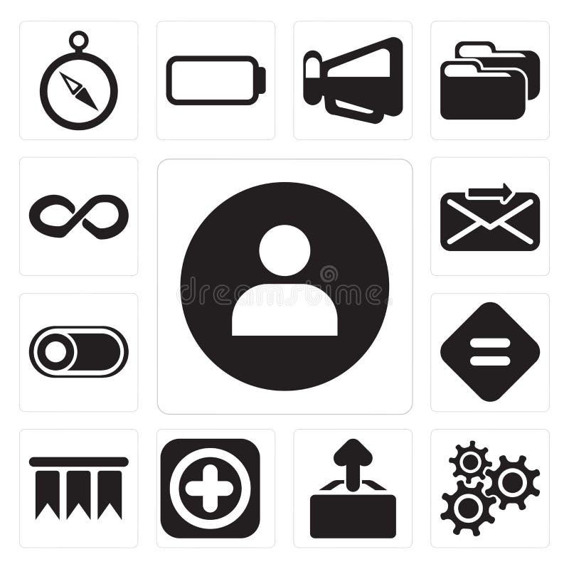 Satz des Benutzers, Einstellungen, Antriebskraft, fügen hinzu, bookmarken, entsprechen, schalten, Senator lizenzfreie abbildung