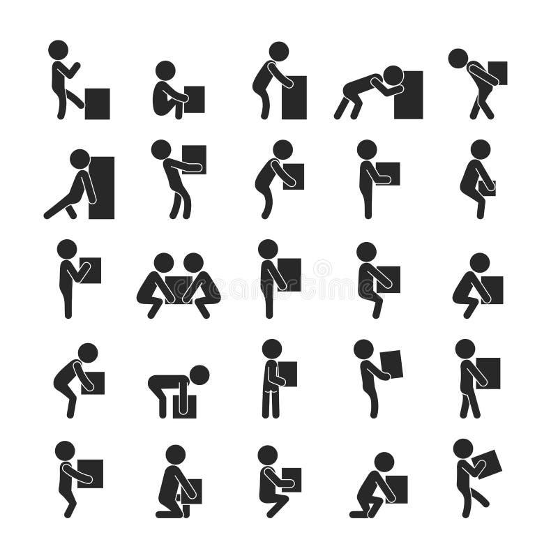 Satz des beweglichen Kastens des Mannes, menschliche Piktogramm Ikonen lizenzfreie abbildung