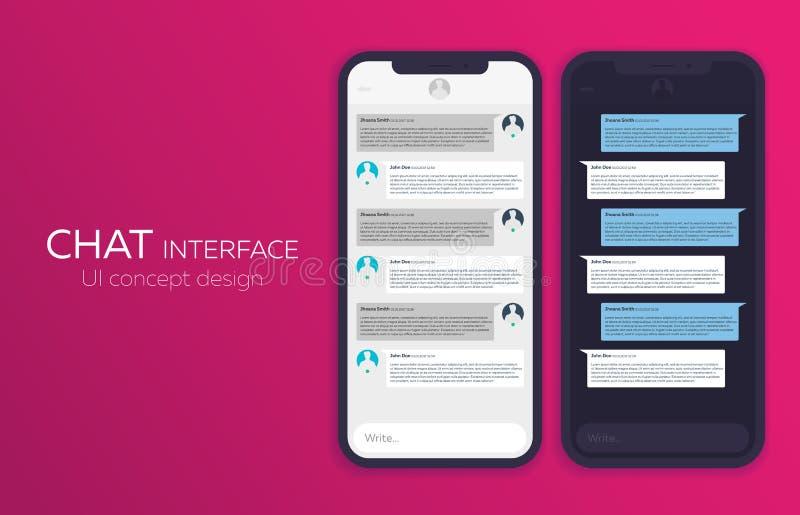 Satz des beweglichen UI-Konzeptes des Entwurfes Modische Chat-Anwendung mit Dialogfenster Sms-Bote Auch im corel abgehobenen Betr stock abbildung