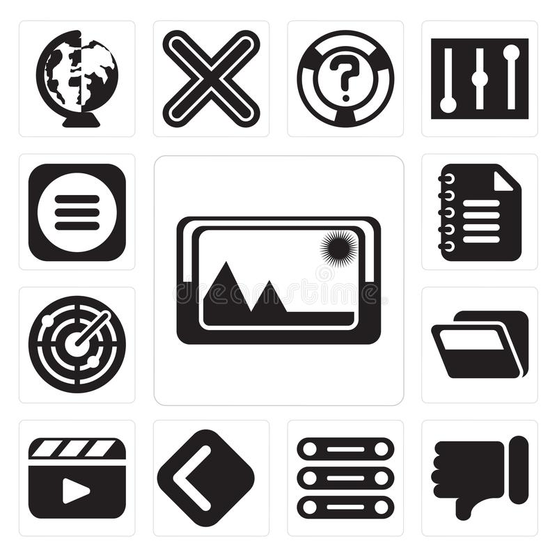 Satz des Bildes, Abneigung, Datenbank, Rückseite, Video-Player, Ordner, R lizenzfreie abbildung