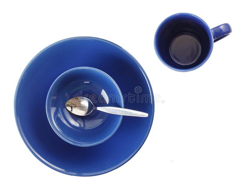 Satz des blauen Dishware lizenzfreies stockfoto