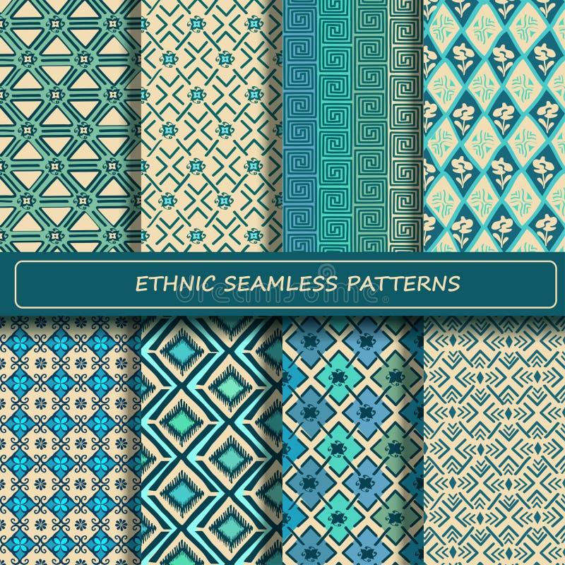 Satz des blauen weißen abstrakten ethnischen geometrischen nahtlosen Musters lizenzfreie abbildung