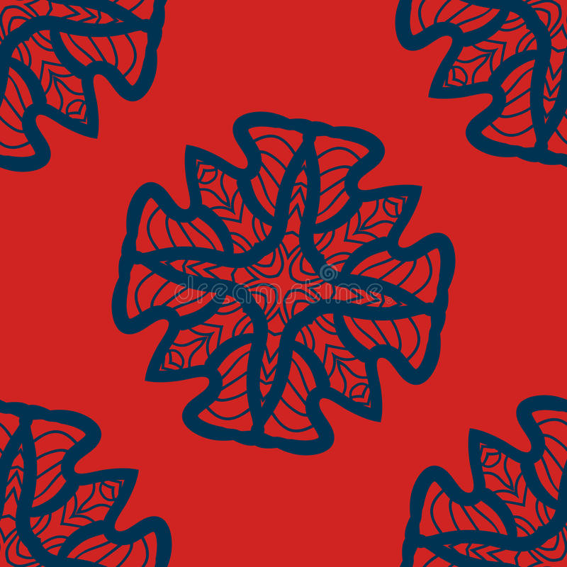 Satz des Blaus auf den roten Mandalen nahtlos Dekorative Symmetrieverzierungen Anti-Drucktherapiemuster Webartdesign mit Ziegeln  vektor abbildung