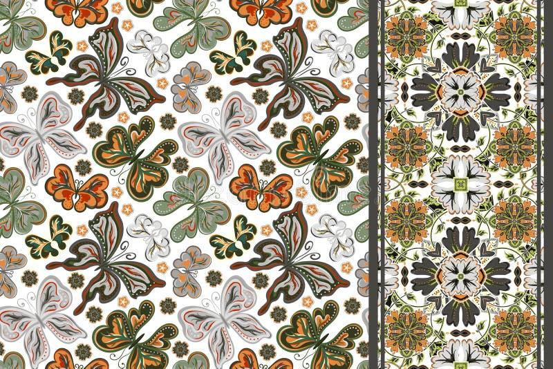 Satz des Blumenmusters des nahtlosen Vektors, des Musters und der Grenze u. des x28; Bandband u. x29; Kann für Tapete, Musterfüll stock abbildung