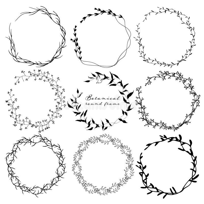 Satz des botanischen runden Rahmens, Handgezogene Blumen, botanische Zusammensetzung, dekoratives Element für Einladungskarte vektor abbildung
