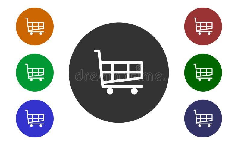 Satz des bunten Kreisikonenkaufes auf der Website und im EShopknopf- und -bildwarenkorb lokalisiert auf weißem Hintergrund lizenzfreie abbildung