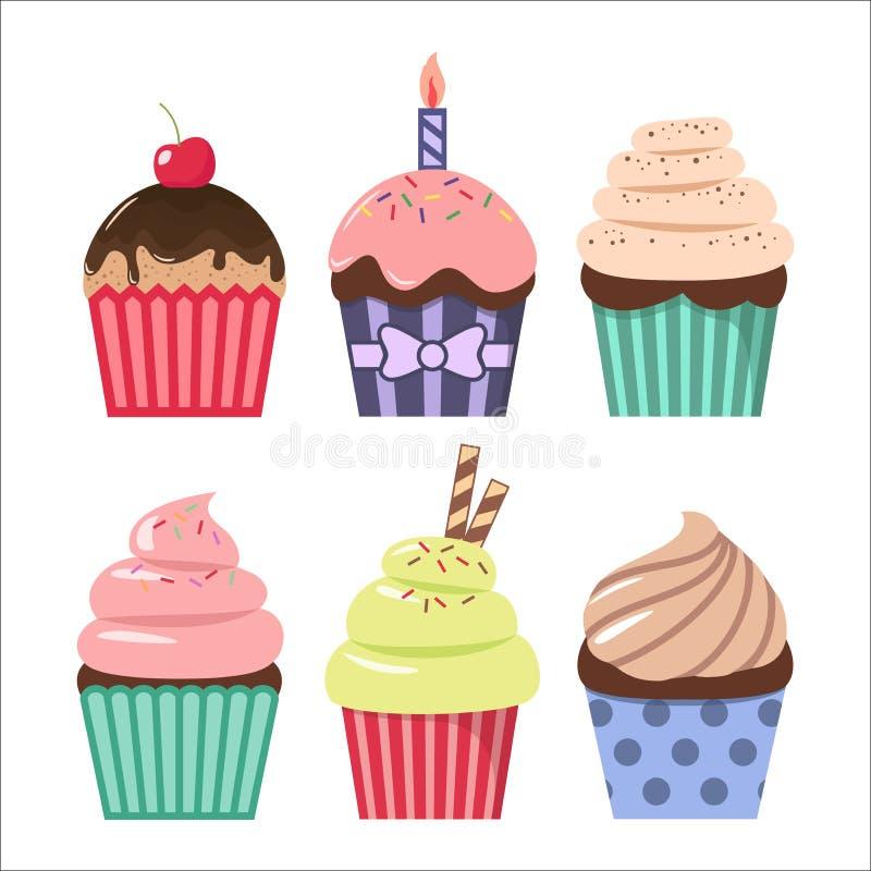 Satz des Clipartkarikatur-kleinen Kuchens Bunte Karikaturen clipart der kleinen Kuchen lizenzfreie abbildung