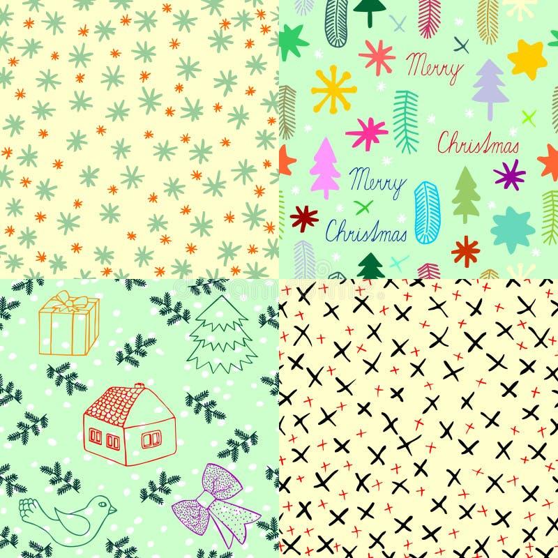 Satz des dekorativen Winterpackpapiers, des Weihnachten und des Winterthemas, vier Stücke von Hand gezeichnete Bilder von Weihnac vektor abbildung