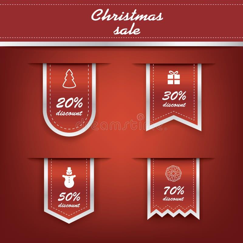 Satz des elegantes Weihnachtsvertikalen Bandes etikettiert mit vektor abbildung