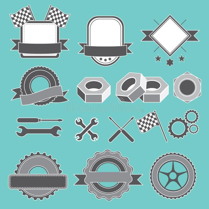 Satz des Emblems, Firmenzeichen für Mechaniker, Garage, Autoreparatur, Service stock abbildung