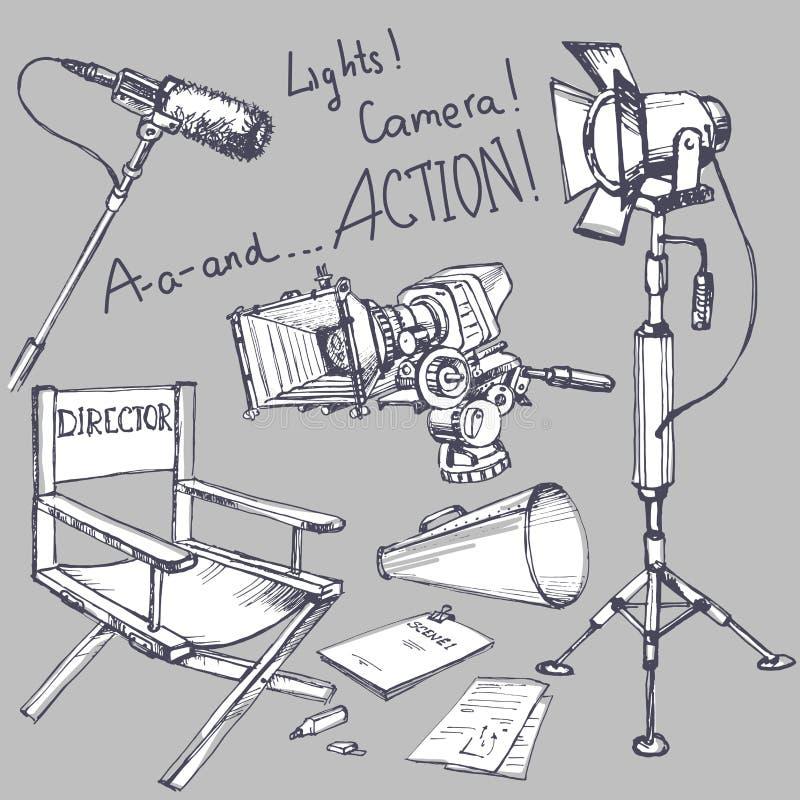 Satz des Films machen Gegenstände vektor abbildung