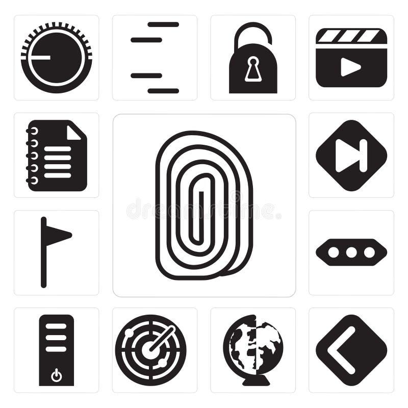 Satz des Fingerabdruckes, Rückseite, weltweit, Radar, Server, mehr, Flagge, lizenzfreie abbildung