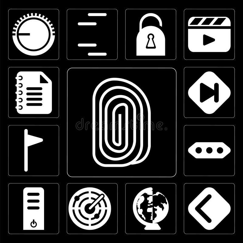 Satz des Fingerabdruckes, Rückseite, weltweit, Radar, Server, mehr, Flagge, stock abbildung