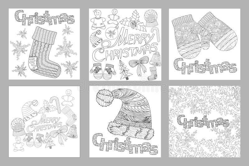 Satz des flüchtige Hand gezeichneten Gekritzel-Musters der Gegenstände und der Symbole auf dem Weihnachtsmotiv, Färbungsseiten fü lizenzfreie abbildung