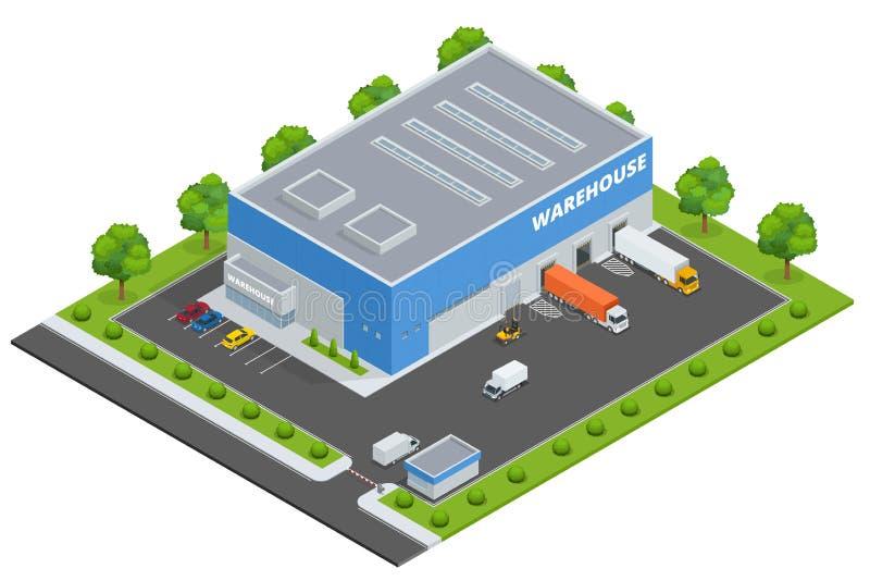 Satz des flachen Vektors auf dem Thema von Logistik, Lieferung, Lager, Fracht, Fracht, Transport Lagerung von Waren lizenzfreie abbildung