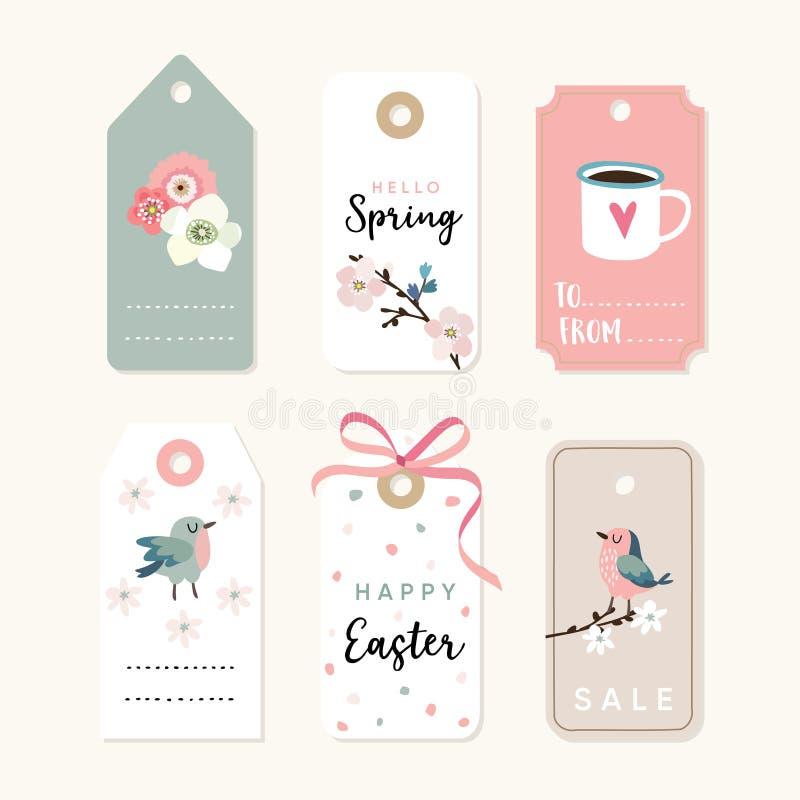 Satz des Frühlinges, des Ostern-Geschenks Tags und Aufkleber mit Blumen, Kirschblüten, Vögel und rosa Band Lokalisierter Vektor stock abbildung