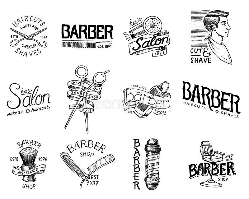 Satz des Friseursalonausweises und -aufklebers, Logo- und Hippie-Embleme Werkzeuge für Mannikone Haarschnitt des Bartes und des S stock abbildung