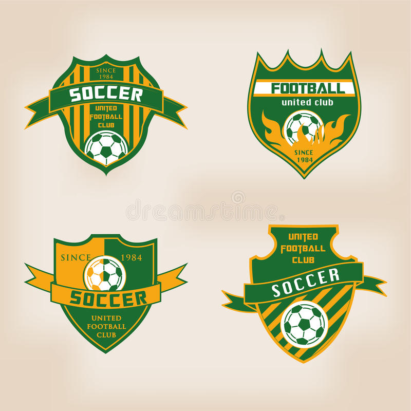 Satz des Fußball-Fußball-Ausweises Logo Design stock abbildung