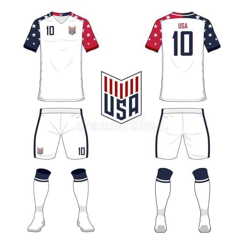 Satz des Fußballtrikots oder Fußballausrüstungsschablone für nationales Fußballteam der Vereinigten Staaten von Amerika Vorderes  lizenzfreie abbildung