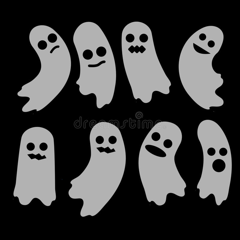 Satz des Geistes A Geister Halloween-Elementdesign vektor abbildung