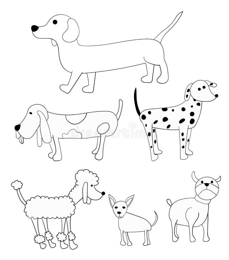 Satz des Gekritzels verfolgt Karikatur-Illustrations-Pudel-Bulldogge vektor abbildung