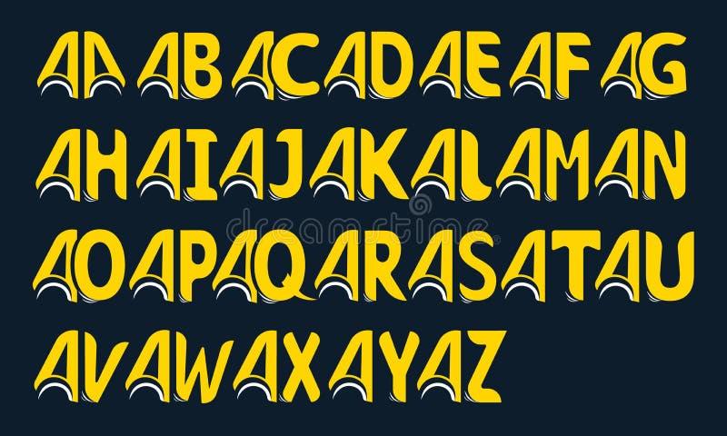 Satz des gelben Alphabetes gemacht von verbundenen Buchstaben auf einem schwarzen Hintergrund lizenzfreie abbildung