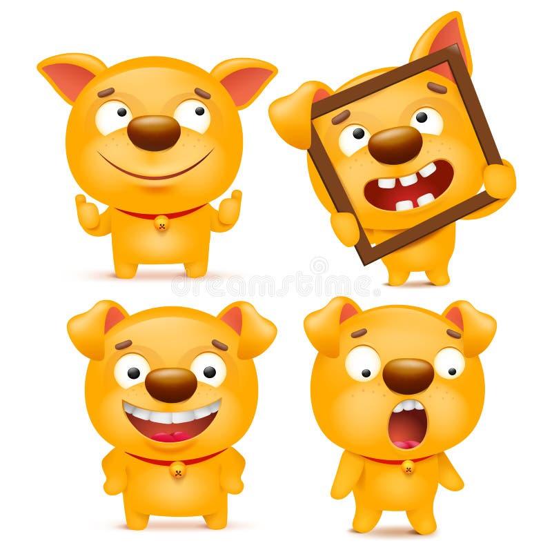 Satz des gelben Karikatur emoji Hundecharakters stock abbildung