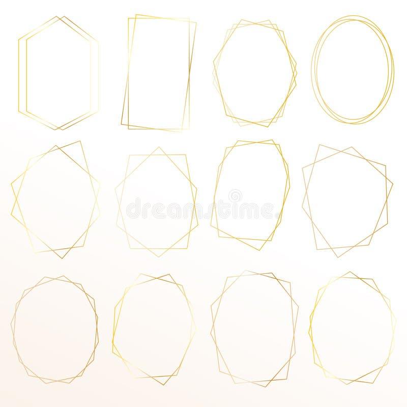 Satz des geometrischen Goldrahmens, dekoratives Element für Hochzeitskarte, Einladungen und Logo lizenzfreie abbildung