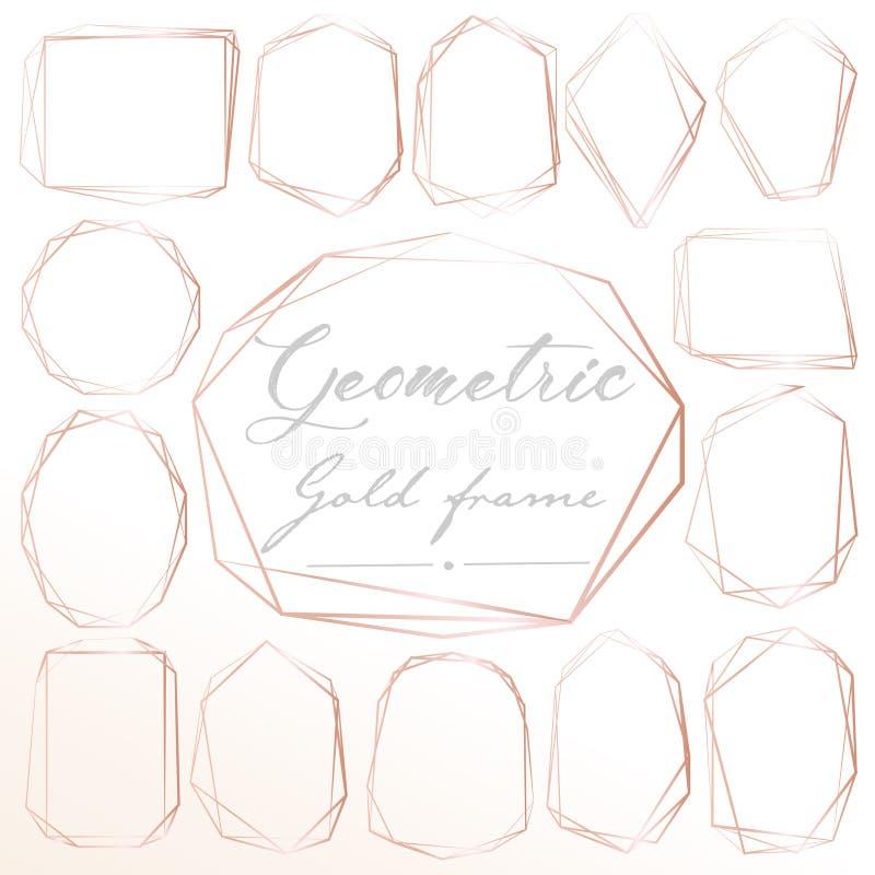 Satz des geometrischen rosa Goldrahmens, dekoratives Element für Hochzeitskarte, Einladungen und Logo lizenzfreie abbildung