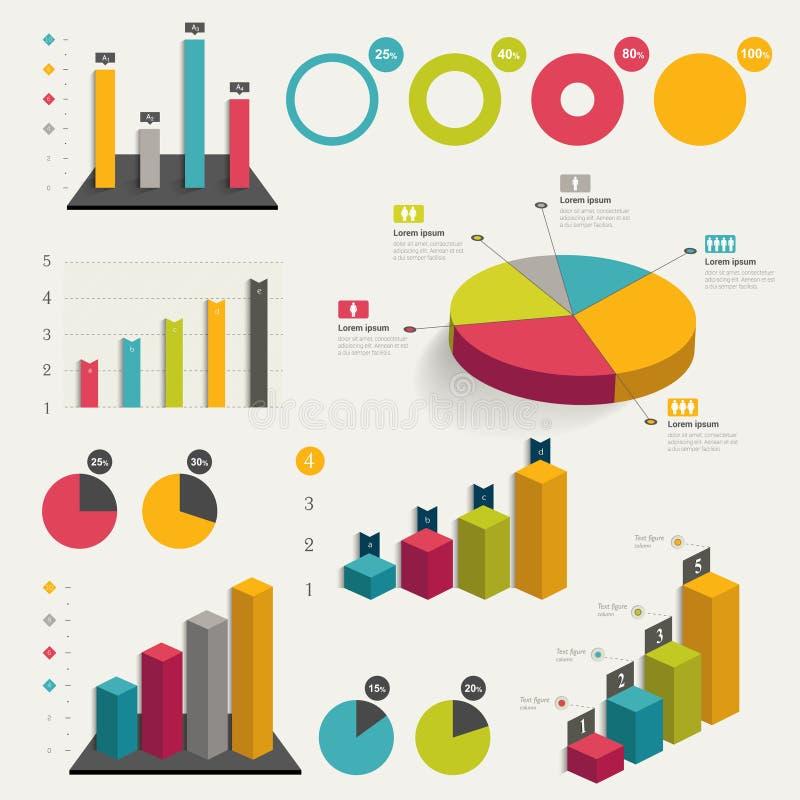 Satz des Geschäfts flach, Diagramm des Designs 3D stock abbildung