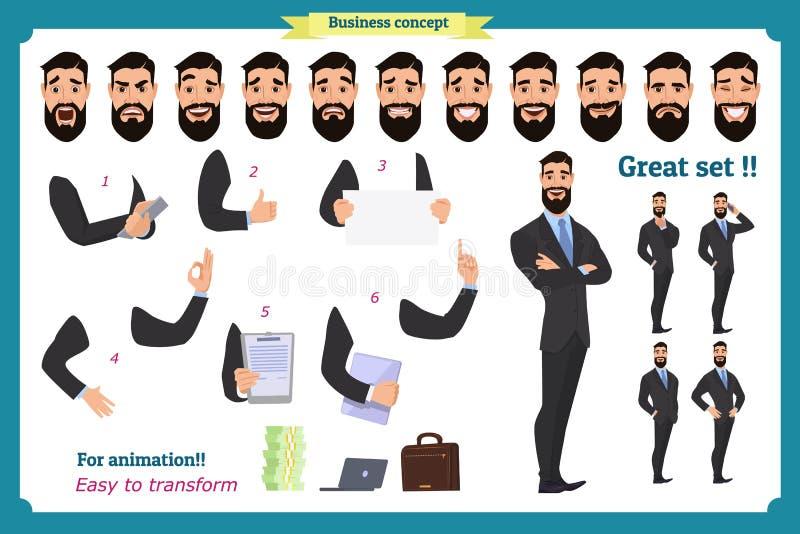 Satz des Geschäftsmanncharakters wirft, Gesten, Aktionen, Körperelemente auf Lokalisiert auf Weiß lizenzfreie abbildung