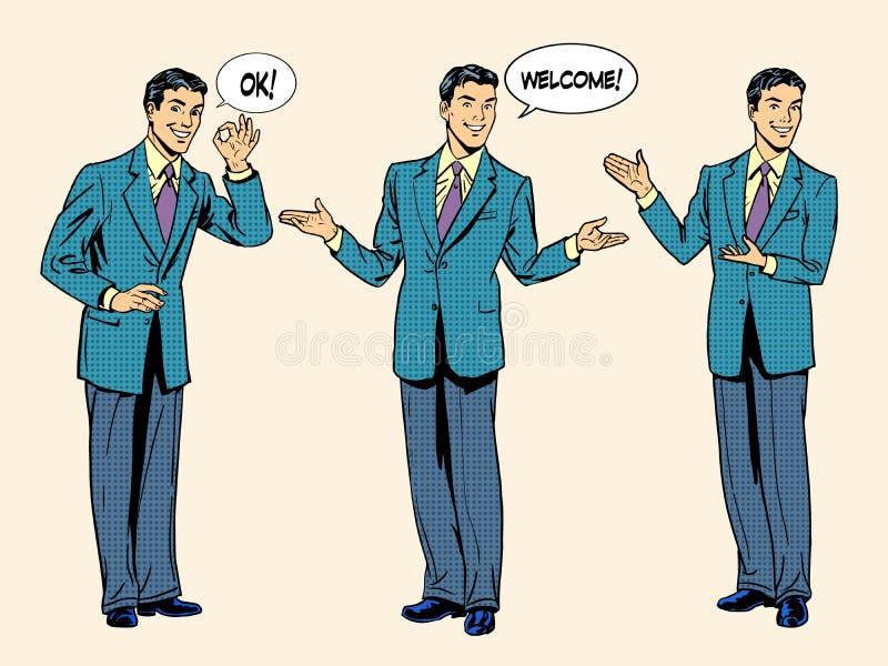 Satz des Geschäftsmanndarstellungs-Showwillkommens vektor abbildung