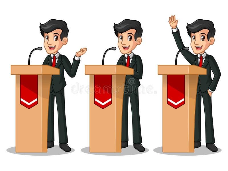 Satz des Geschäftsmannes im schwarzen Anzug, der eine Rede hinter Podium gibt vektor abbildung