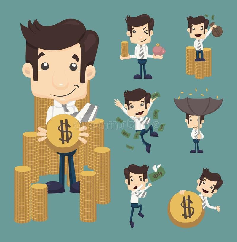 Satz des Geschäftsmannes machen Geldcharaktere Haltungen stockfotos