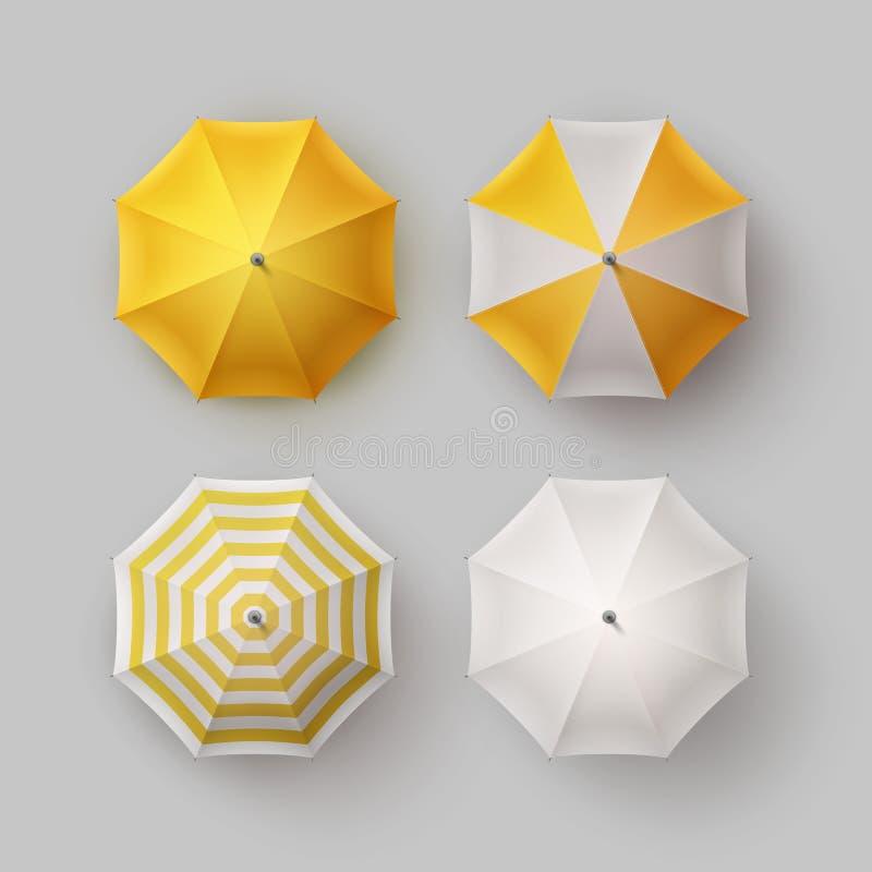 Satz des gestreiften Regen-Regenschirm-Sonnenschirm-Sonnenschutz lizenzfreie abbildung