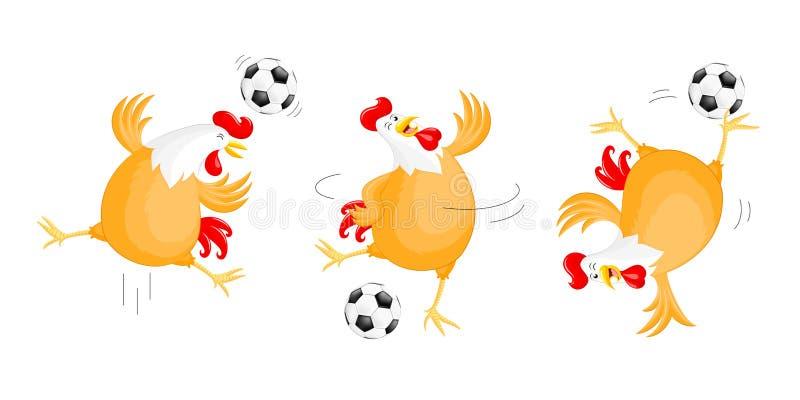 Satz des glücklichen Huhns Fußball spielend vektor abbildung