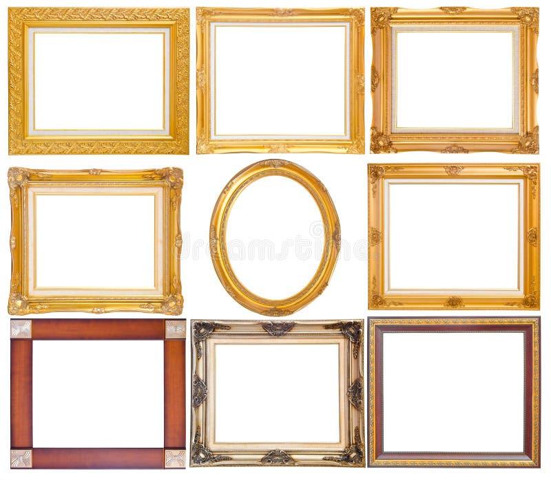 Satz des goldenen Weinleserahmens lokalisiert auf weißem Hintergrund stockfotos