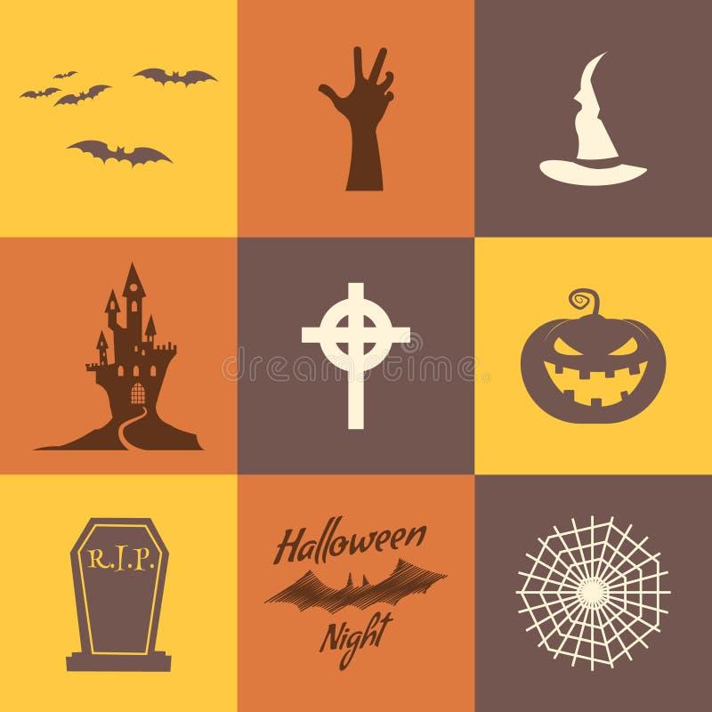 Satz des Halloween-Ikonenisolats auf Mehrfarbenhintergründen Flaches Design Urlaubspartysymbole - Kürbis, Schläger, Hexenhut lizenzfreie abbildung