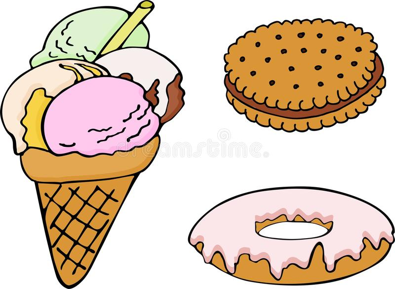 Satz des Hand gezeichneten Donuts, Eiscreme, Keks Fische in einem Baum stock abbildung
