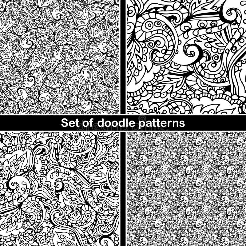 Satz des Hand gezeichneten Gekritzelmusters im Vektor Zentangle-Hintergrund Nahtlose abstrakte Beschaffenheit Ethnisches Gekritze lizenzfreie abbildung