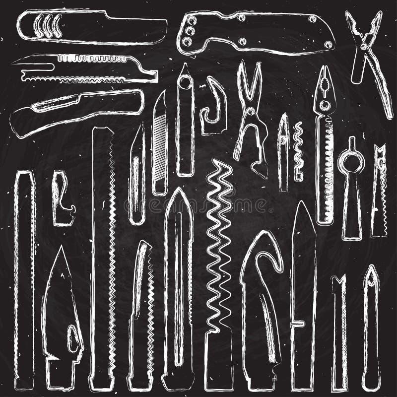 Satz des Handabgehobenen betrages Multifunktionsmesserelemente, Taschenmesser-Kreideillustration, Schweizer Messer, Vielzwecktasc stock abbildung