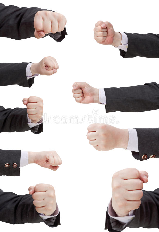 Satz des Handzeichens mit den zusammengepreßten Fingern stockfoto