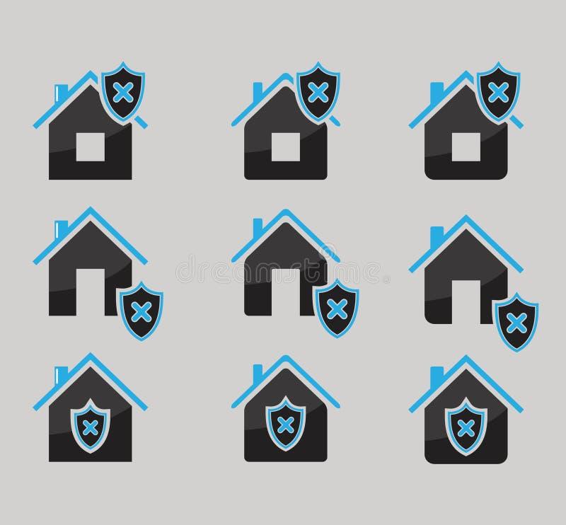 Satz des Hauses schützte die Ikonen, die auf grauem Hintergrund lokalisiert wurden stock abbildung