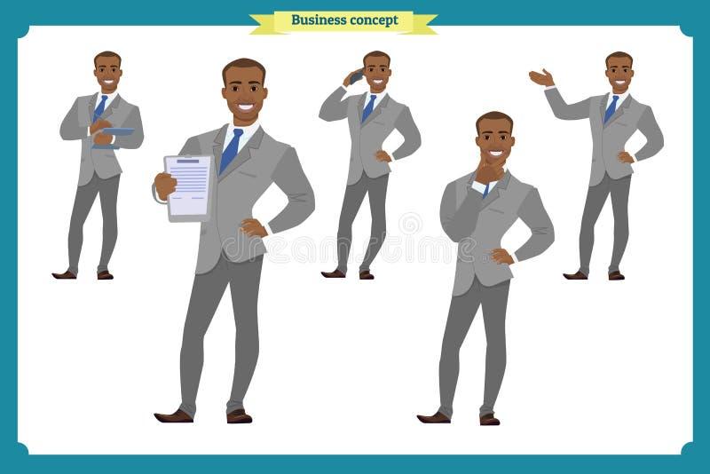 Satz des HeldGeschäftsmannes, der in der verschiedenen Aktion sich darstellt Glückliche junge Schwarzafrikanermänner im Anzug Leu lizenzfreie abbildung