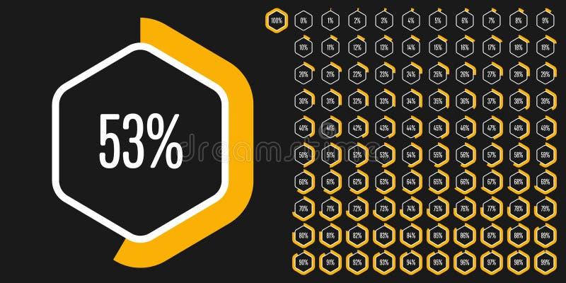 Satz des Hexagonprozentsatzes stellt von 0 bis 100 grafisch dar vektor abbildung